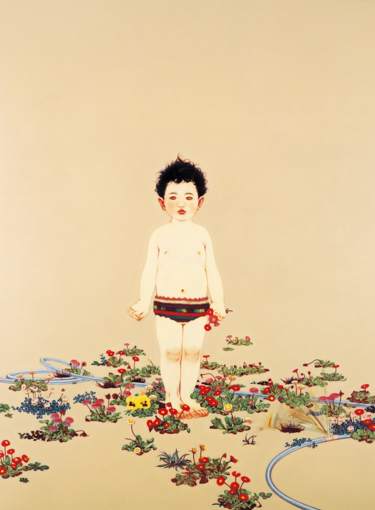 The Garden of Belly Button, 2010 oil on canvas mounted on wood panel, 190.0 x 140.0 cm, ©Masako Ando  Photo by Tamotsu Kido