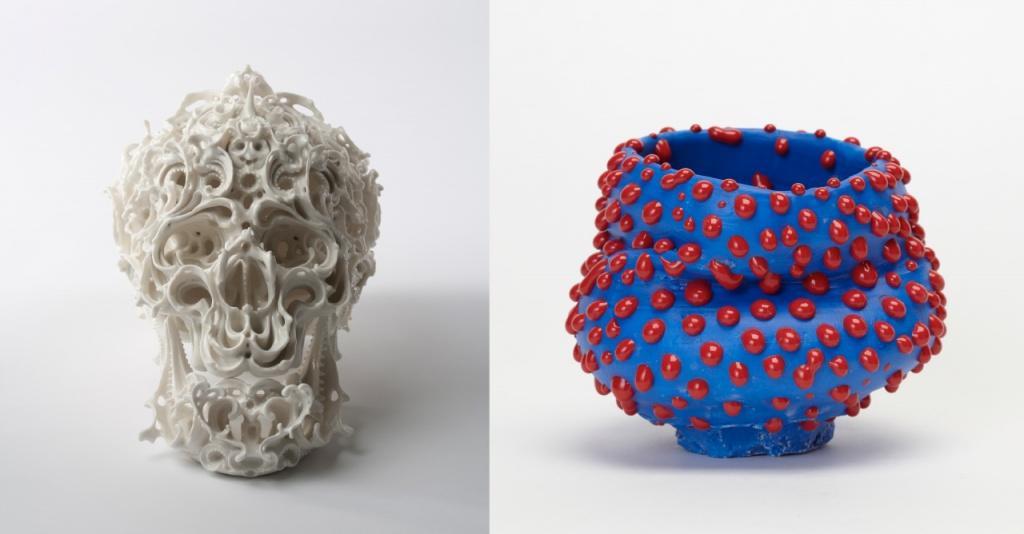 (L) Predictive Dream XLⅡ, 2013 Porcelain, h.23.1 x w.20.7 x d.32.0 cm, ©Katsuyo Aoki,  Photo by Mareo Suemasa (R) Bowl, 2013 Porcelain, h.13.5 x 15.0 x 14.5 cm, ©Takuro Kuwata, Photo by Kenji Takahashi
