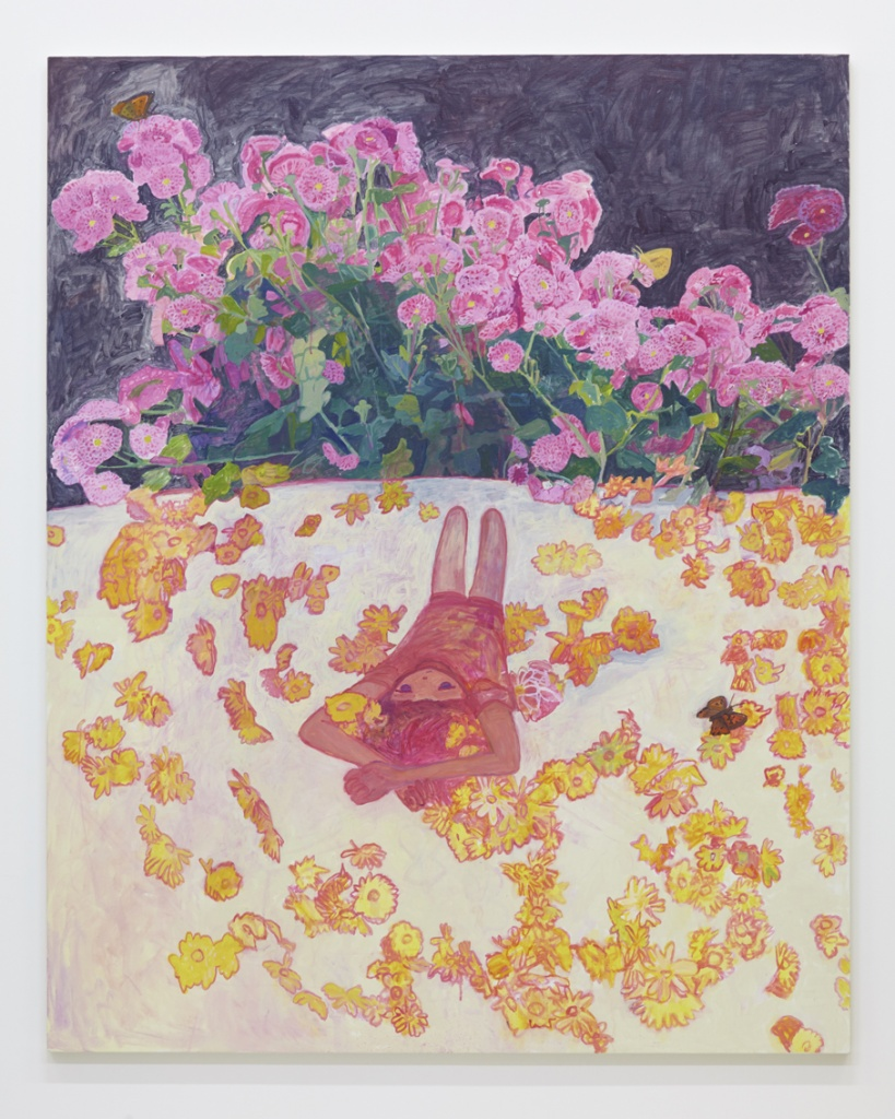 工藤麻紀子 Makiko Kudo 花がらのふとん Floral patterned futon 2015 oil on canvas 162.0 x 130.5 cm © Makiko Kudo