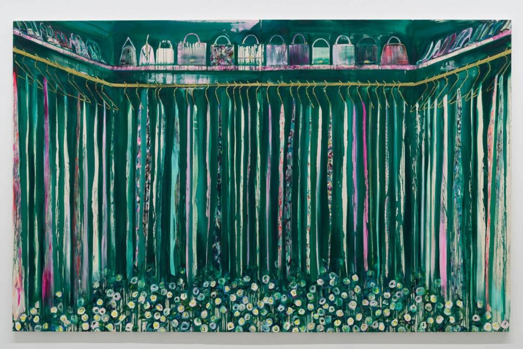 Camellia closet II 2015 acrylic and oil on cotton 227.3 x 363.6 cm © Midori Sato