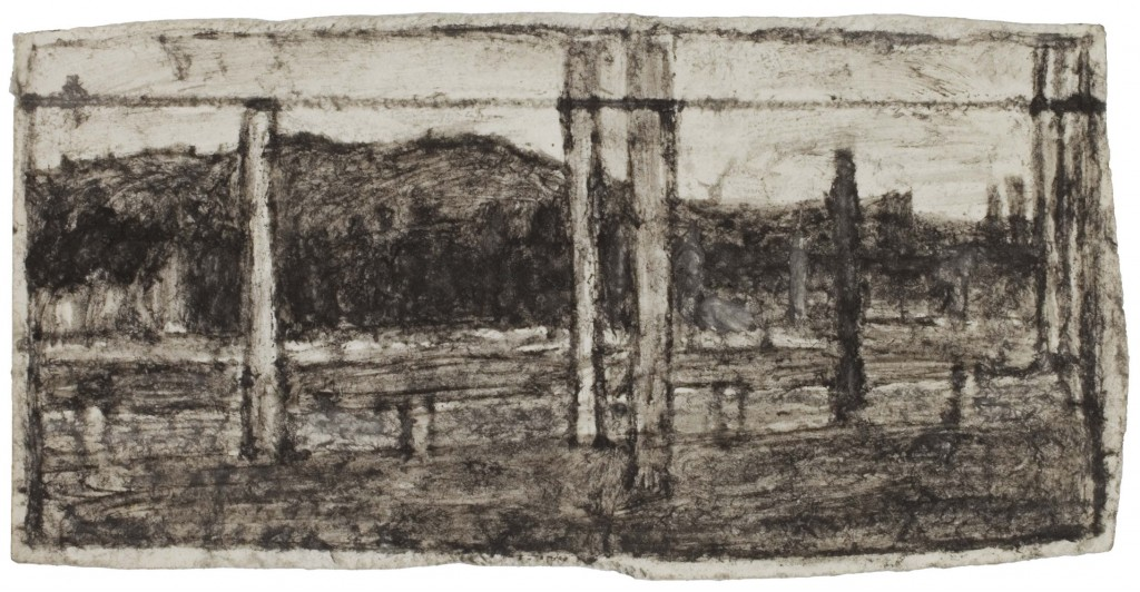 James Castle Untitled (farmscape with forms) Found paper, soot 8.57 x 16.8 cm ©James Castle Collection and Archive LP Courtesy of Tomio Koyama Gallery