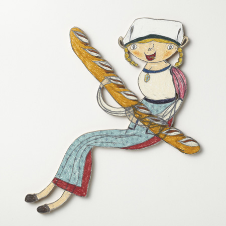 三宅信太郎 Shintaro Miyake バゲットを持つ彼女 Girl holding a Baguette 2013 color pencil, pencil on paper mounted on wood h.22.5 × w.20.5 × d.1.0 cm © Shintaro Miyake